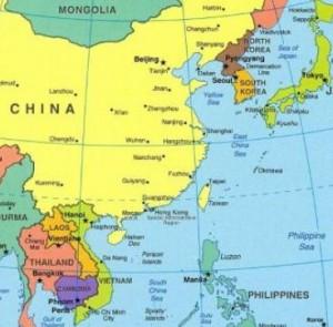 coree du sud carte du monde-