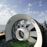 Suivi chantier hydroliennes de Paimpol – Bréhat – Série de tests d'installation de la turbine dans la baie de Douarmenez.