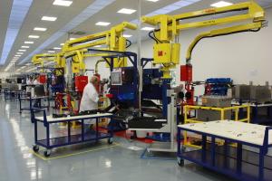 La production des modules VSC dans l'usine d'Alstom à Stafford. (Photo : Anne-Claire Poirier)