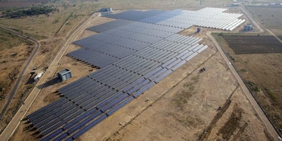 Centrale solaire de Khimsar, en Inde. (Crédit : MNRE)
