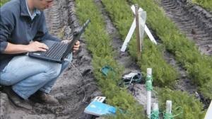 """Dans une exploitation de démonstration d'Agri-esprit,, """"Planète végétal"""", au sud-ouest de Bordeaux. (crédit : capture vidéo Agri-Esprit)"""