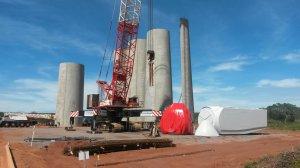 Le chantier de construction du parc éolien d'Areia Branca au Brésil. (Crédit : Voltalia)