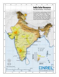 Carte d'ensoleillement de l'Inde, 2011 (Crédit : National Renewable Energy Laboratory).