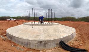 Le chantier de construction de Voltalia du parc éolien d'Areia Branca au Brésil. (Crédit : Voltalia)