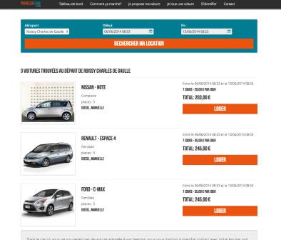 La plateforme web de Traveler Car. (Crédit : Traveler Car)