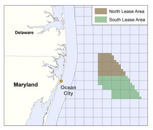 Les deux baux combinent une surface de plus de 32 000 hectares, au large des côtes d'Ocean City, dans le Maryland. (Crédit : Bureau of Ocean Energy Management)