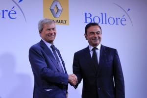 Vincent Bolloré et Carlos Ghosn, le 9 septembre à Paris. (Crédit : Emilie Jéhanno)