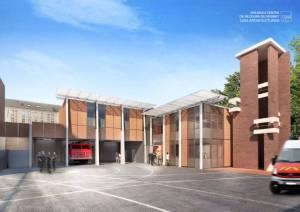 Modélisation de l'extension et de la rénovation de la caserne de pompiers de Vésinet (78), un contrat remporté récemment par la start-up. (Crédit : Lineazen)