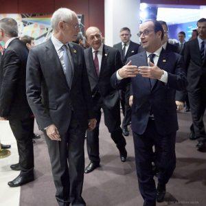 Hermann Van Rompuy et François Hollande, à Bruxelles, le 23 octobre. (Crédit : Conseil européen)