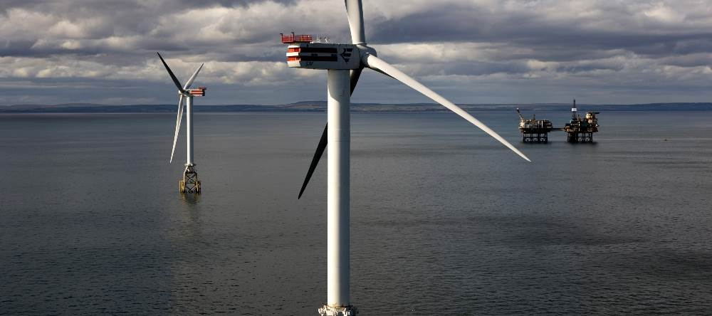 Démonstrateur de turbines pour le parc éolien offshore Beatrice. (Crédit : SSE)