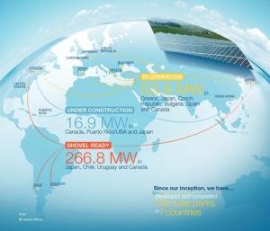 Carte des parcs PV en service ou en développement de Sky Solar. (Crédit : Sky Solar)