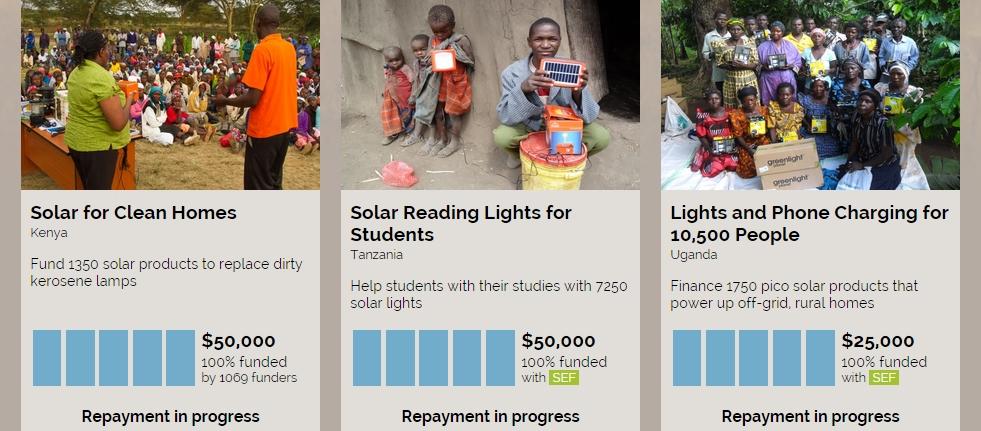 Capture d'écran, site de SunFunder