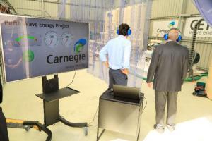 Lors de l'inauguration de la première centrale commerciale, le 18 février, en Australie. (Crédit : Carnegie Wave Energy)