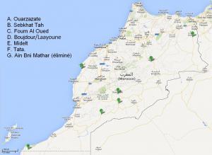 Localisation des projets solaires du plan Noor