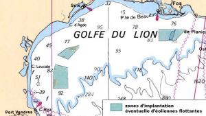 La carte des zones sélectionnées pour l'éolien flottant en Méditerranée. (Crédit : Préfecture)