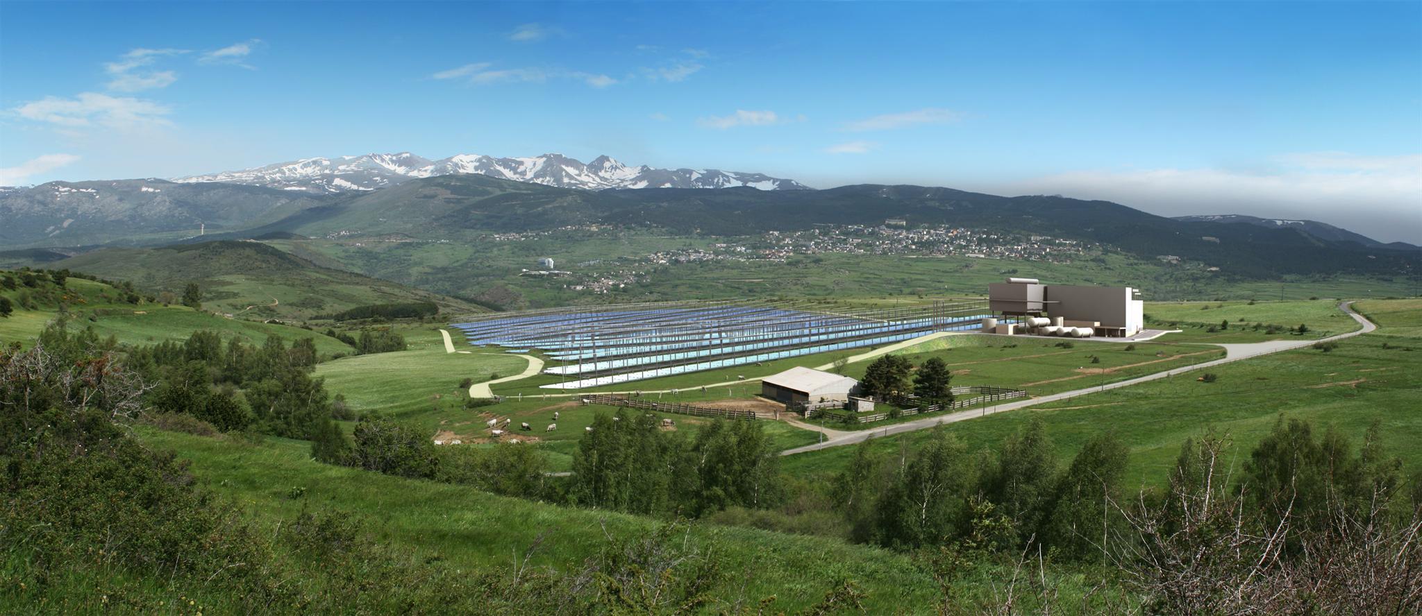 Vue d'artiste de la centrale solaire de Llo dans les Pyrénées (Crédit : CNIM)