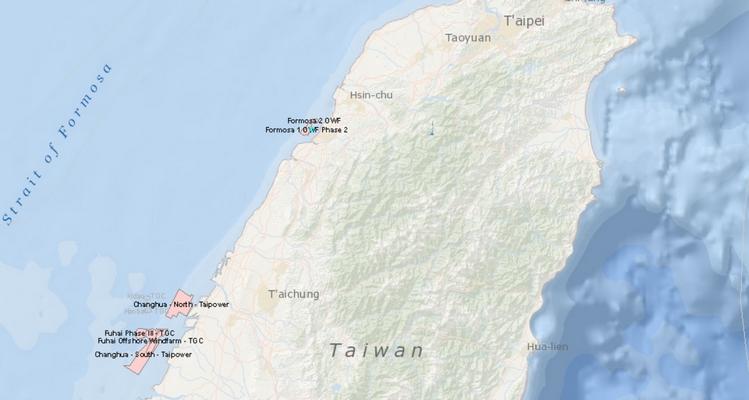 Projets éoliens offshore à Taïwan (Source : 4COffshore)