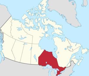 En rouge, l'Ontario