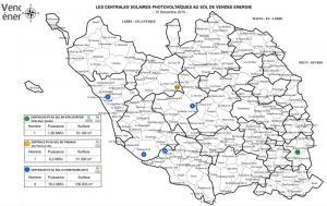 Cliquez sur l'image pour l'agrandir. Les centrales photovoltaïques au sol (en exploitation, en travaux et à construire) de Vendée Energie, au 10 décembre 2015.(Source : Vendée Energie)