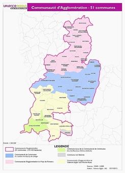La communauté d'agglomération de Valence Romans Sud Rhône-Alpes regroupe les agglos de Valence agglo sud Rhône-Alpes et du Pays de Romans, la communauté d'agglomération du canton de Bourg-de-Péage, la partie drômoise de la communauté de communes bi-départmentale des Confluences Drôme-Ardèche (Beauvallon, Etoile et Montéléger), et enfin la commune isolée de Ouches. Soit une agglo de 51 communes et de 215 459 habitants.