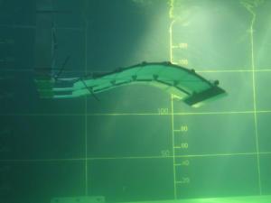 A l'échelle 1, l'hydrolienne EEl Energy mesure 16x16 mètres. (Crédit : Eel Energy)
