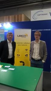 Raphaël Meyer (à droite) et Hervé Ory, cofondateurs de Lancey, au salon Smart City+Smart Grid, mercredi 9 novembre