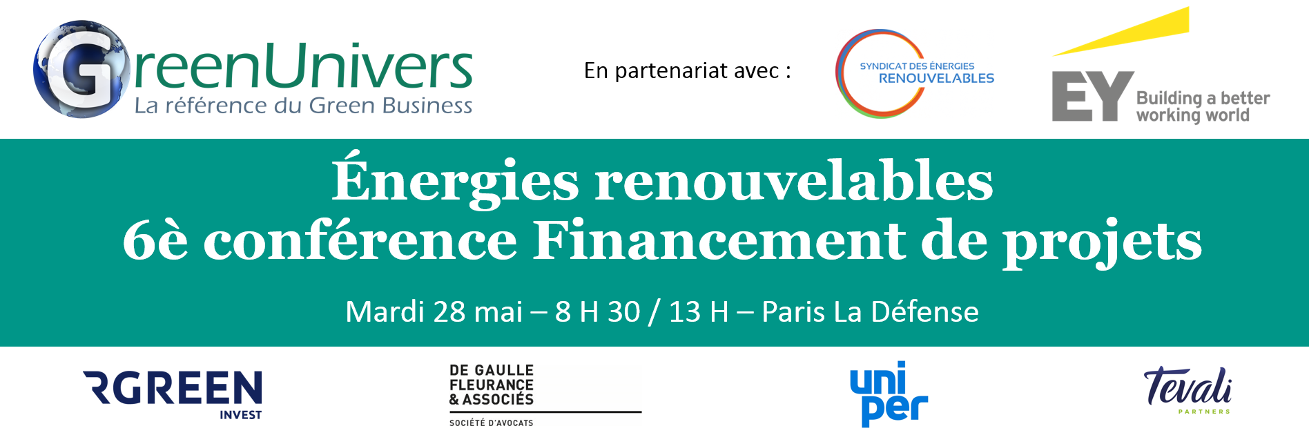 Énergies renouvelables 6e Conférence Financement de projets 28/05 - Paris